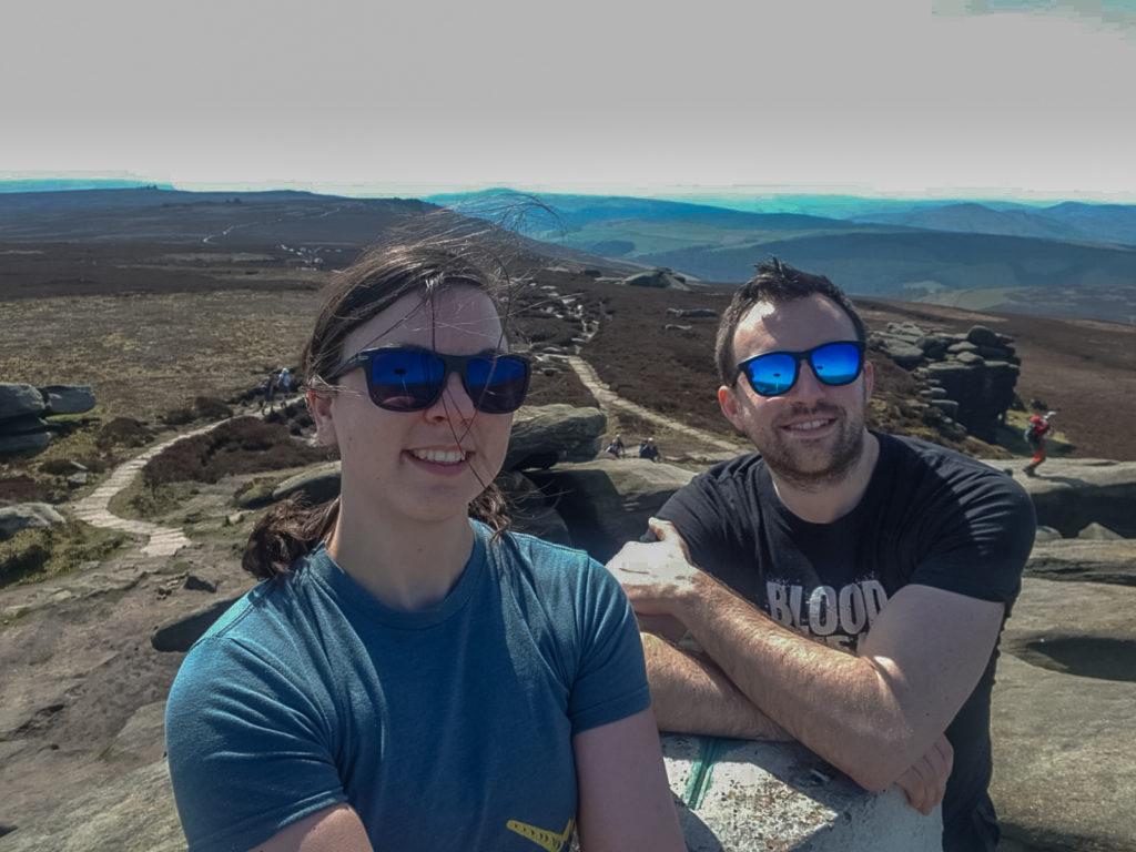 Nick and Sam at Back Tor Trig Pillar