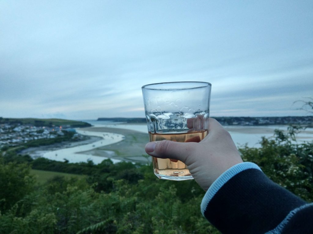 A beverage and a view of the sea