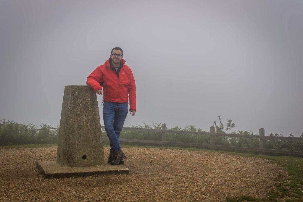 Nick at Golden Cap Trig Pillar