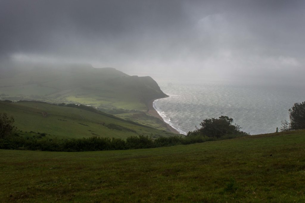 Misty coastal view from Langdon Hill