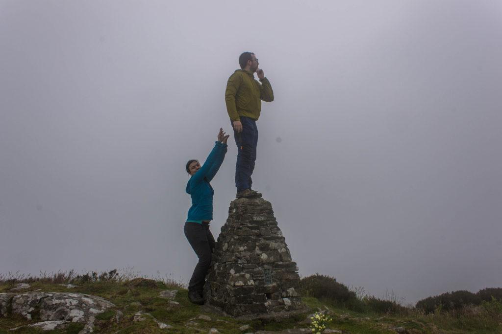 Sam and Nick at the Moel-y-Gest trig pillar
