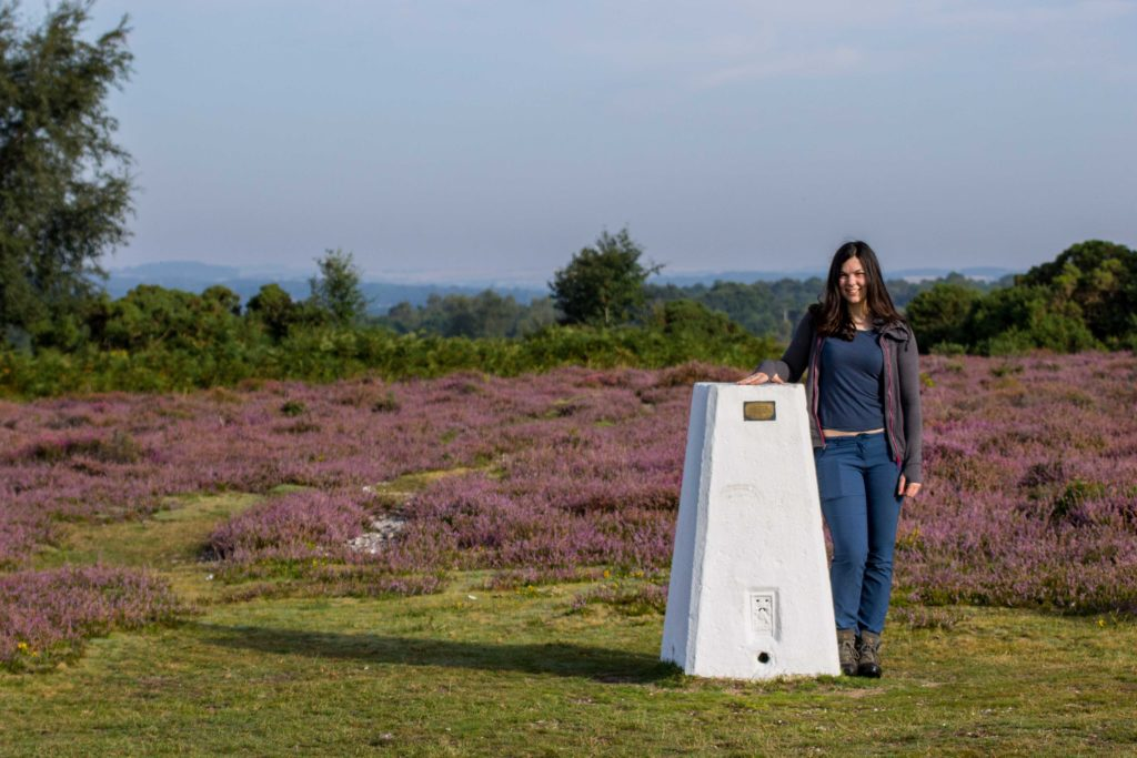 Sam at Ibsley Common trig pillar