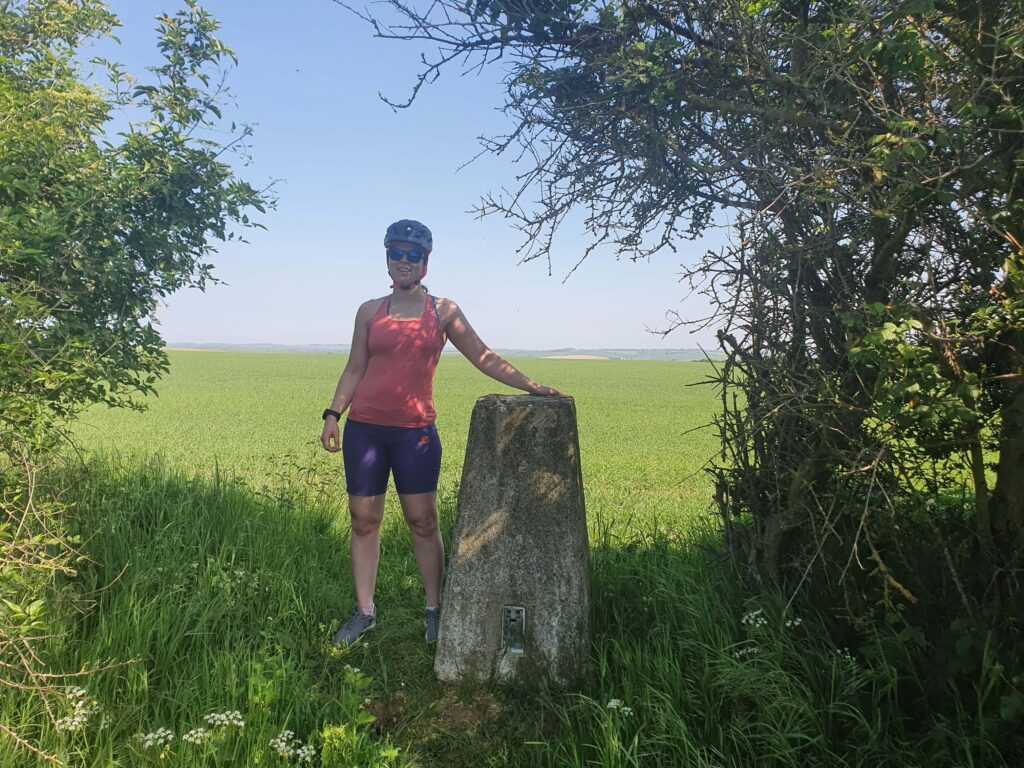 Sam at Littlebury Trig Pillar